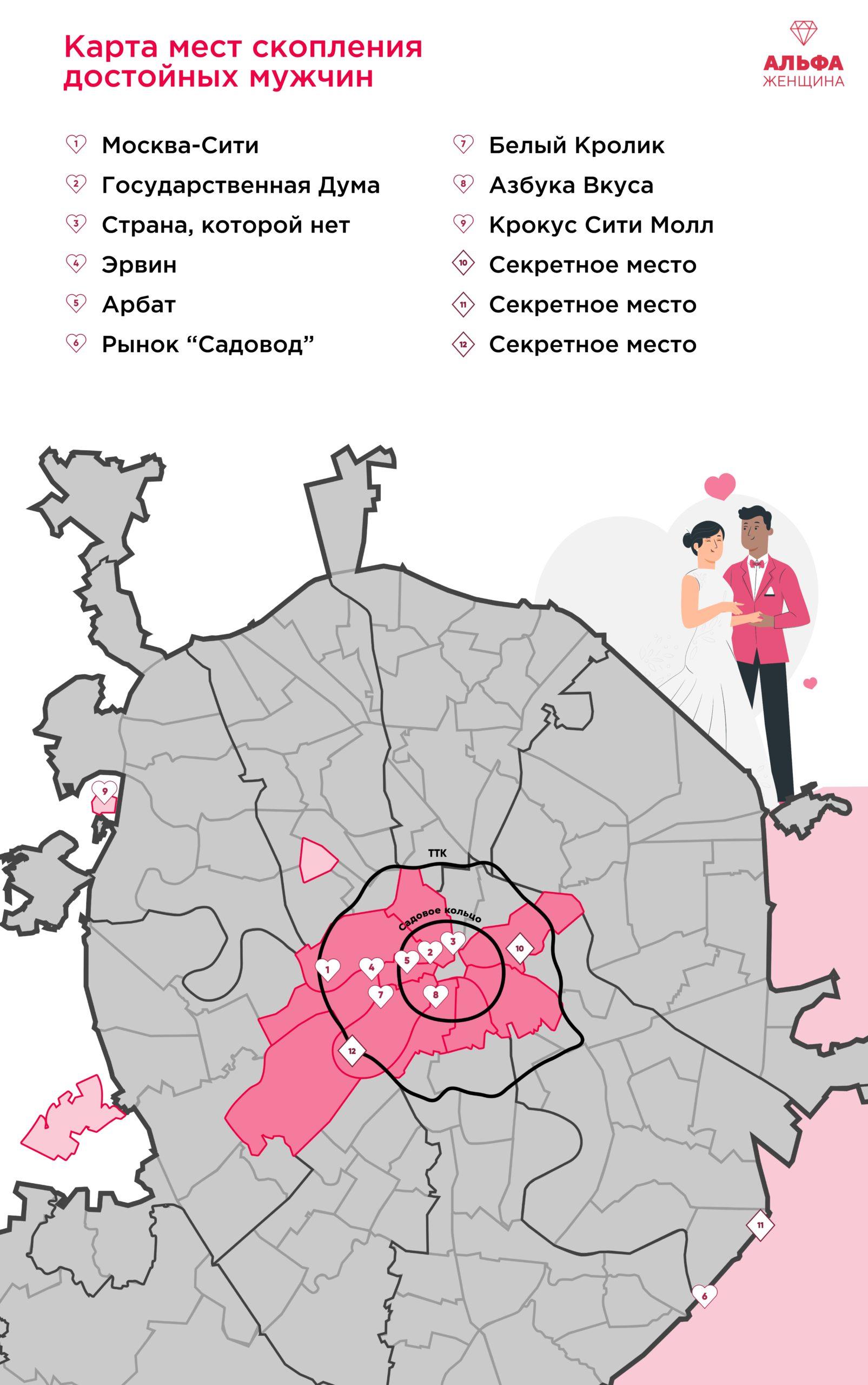 Карта мест в москве для удачных знакомств с мужчинами